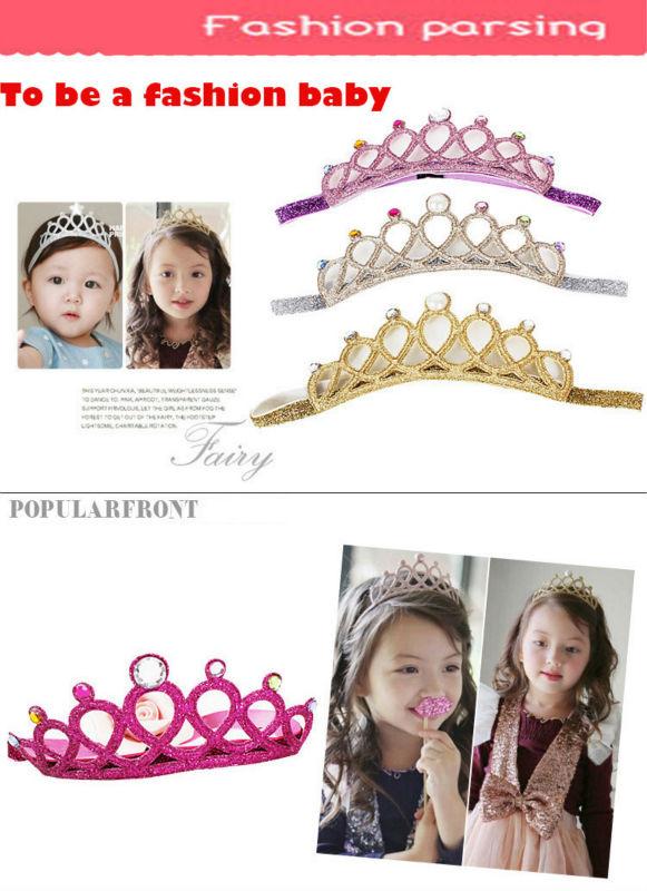 #40927 Gold Sliver Glitter Crown Baby Headband Girls Hair Band New Head Wrape Infant Hair Accessories Princess Tiara Headband