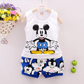 2016 New Cartoon Summer Mickey Baby Boy Clothing Set Tank Top + Shorts Kid Boy Summer Set Children Boy Clothes Set Sleeveless
