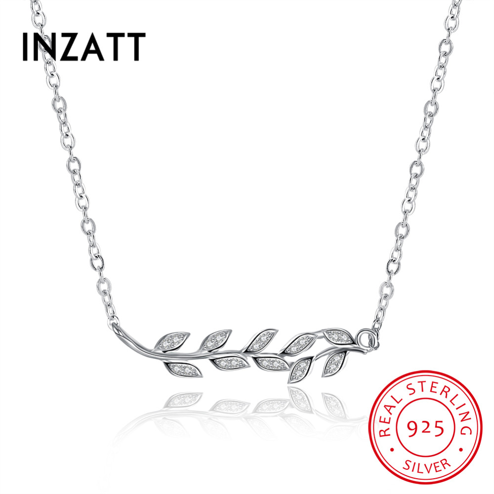 INZATT Fashion 925 Sterling Silver Leaf Pendant Necklace