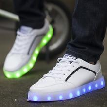 LED shoes men's shoes fashion low for light Han edition student pure color sandals