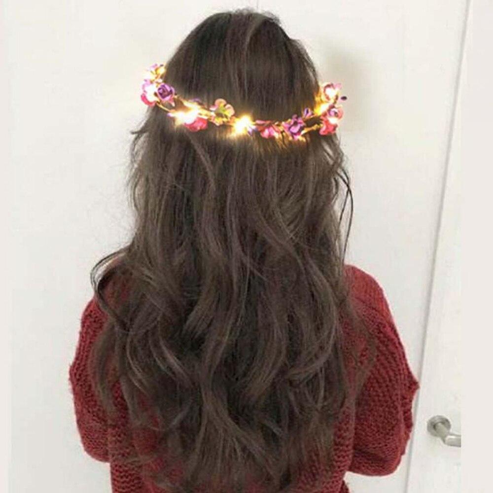 Hot Sale Party Crown Flower Headband LED Light Up Hair Wreath Hairband Garlands Women Kids Birthday Christmas Glowing Wreath