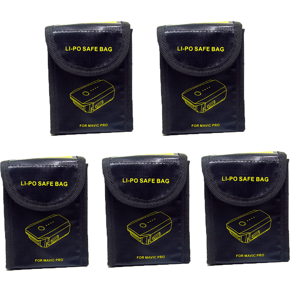 5pcs For Drone Camera Li-Po Battery Safe Bag 2pcs Explosion-Proof Fireproof Battery Storage Safe Bag for DJI Mavic Pro