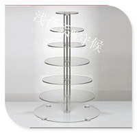 Hot Goedkope 7 Tier Dikke Ronde Kan mensen Clear Acryl Wedding Party Cupcake Display Stand Acryl party decoratie