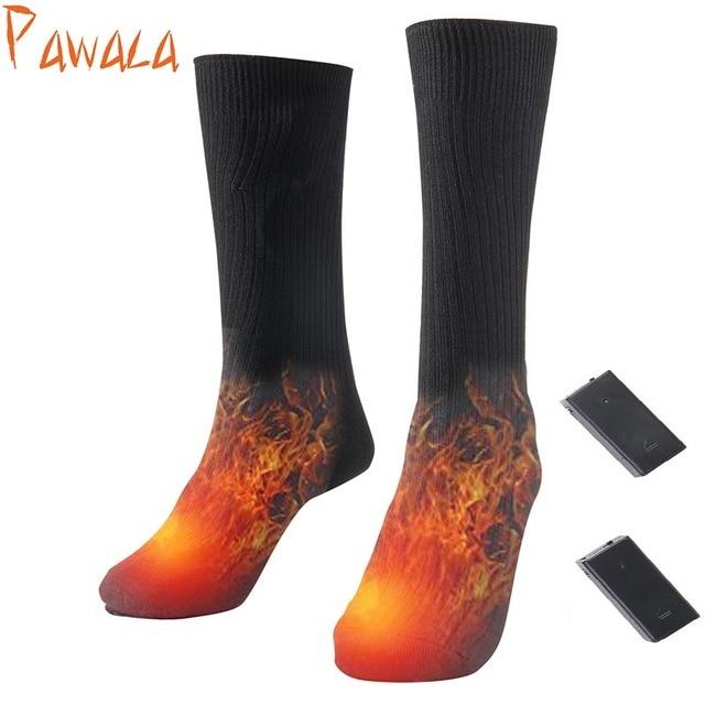 Теплые хлопковые носки с подогревом, спортивные лыжные носки, зимние теплые носки для ног с электрическим подогревом, мужские и женские носки с аккумулятором высокого качества