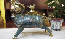 free shipping free shipping Chinese Pure Bronze 24K Gold Cloisonne Foo Dog Dragon Kirin Bird incense burner 0217(China)