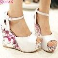 QUTAA Rosa Moda Feminina Outono Sapatos Bomba Mulher Peep Toe com Tira No Tornozelo da Cunha do Salto Alto Sapatos de Casamento Das Mulheres Tamanho 34-43