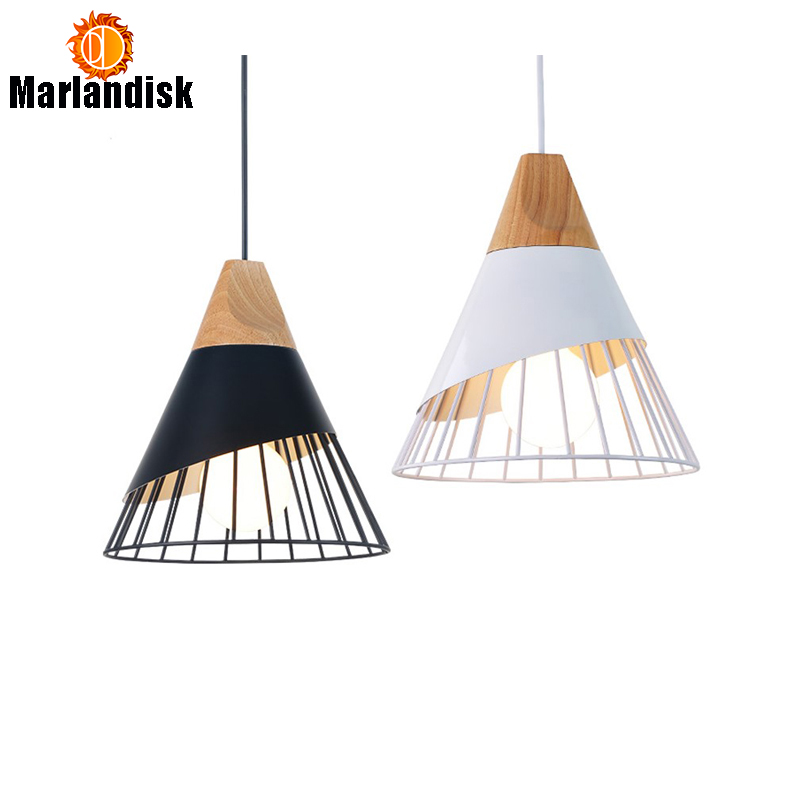 Us 36 65 Modern Wood Pendant Lights Metal Shade White Red Grey Lights E27 Living Room Dining Room Pendant Lamp Home Lights Light Fixtures In Pendant