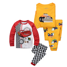 2-7T Baby Boys 2PCS Pajamas Siut Toddler Cotton Clothing Sets Children Sleepwear Sets Cartoon Car Clothes for Kids Infant Outfit