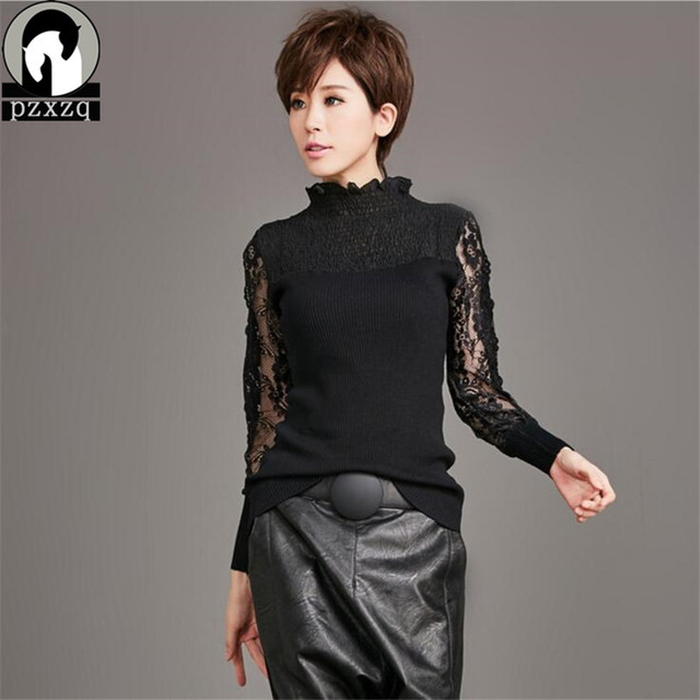 2017 Brand Design New Fashion Women Sweater Spring Autumn Stand collar  Pullover Full Sleeve Knitted Hollow Out Red and black
