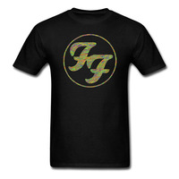 FF Foo Fighters Logo In Gold Circle T Shirt Est 1995 New Merchandise Cotton O Neck