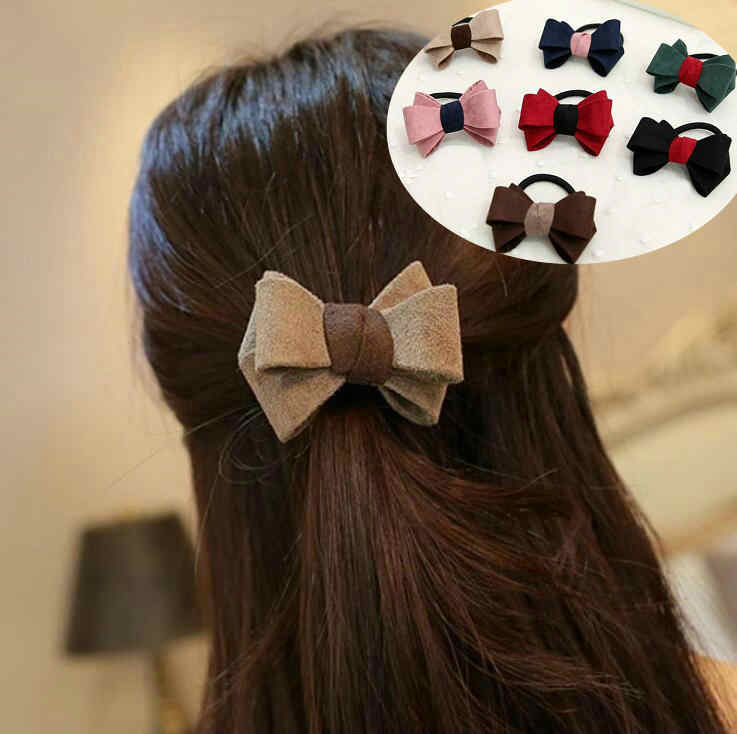 fashion Women Rubber Band Satin Ribbon Hair Bow Elastic Hair Band Rope Scrunchies Ponytail Holder Gum for Girls Hair Accessories