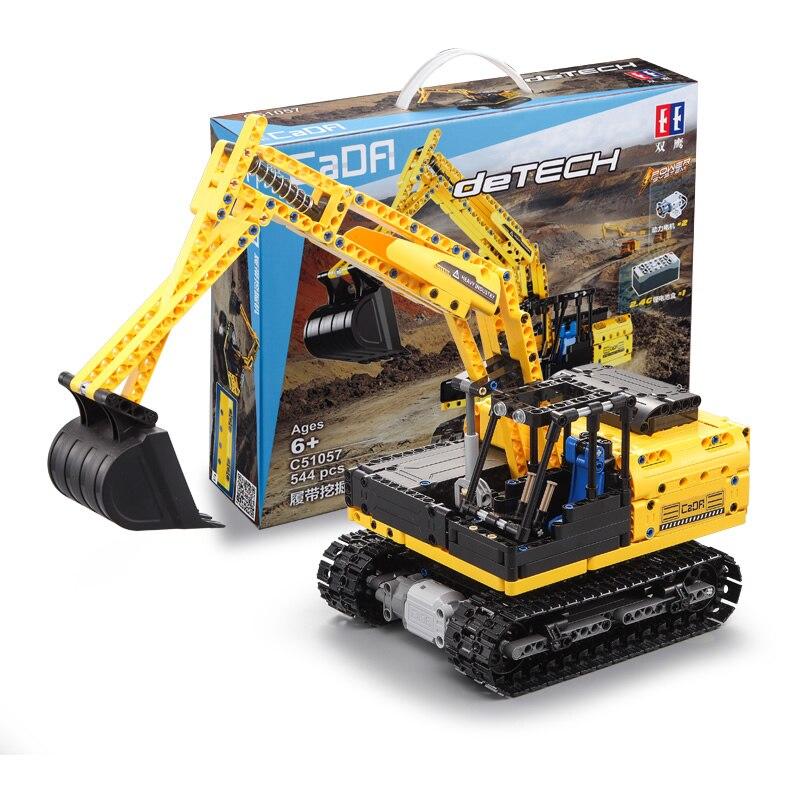 544pcs City Construction Vehicles Building Blocks Set Engineering RC Excavator Model Remote Control Trucks Enlighten Bricks