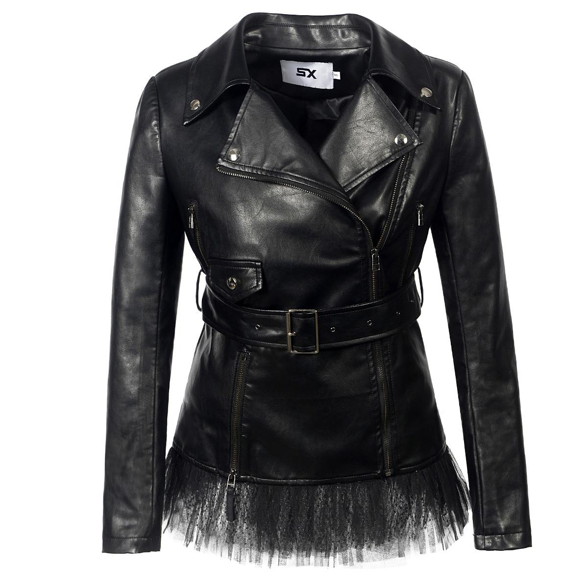Готический плюс размер шикарные зимние женские Куртки из искусственной кожи повседневные Панк Тонкий Стенд воротник молния рок 2019 пальто ж