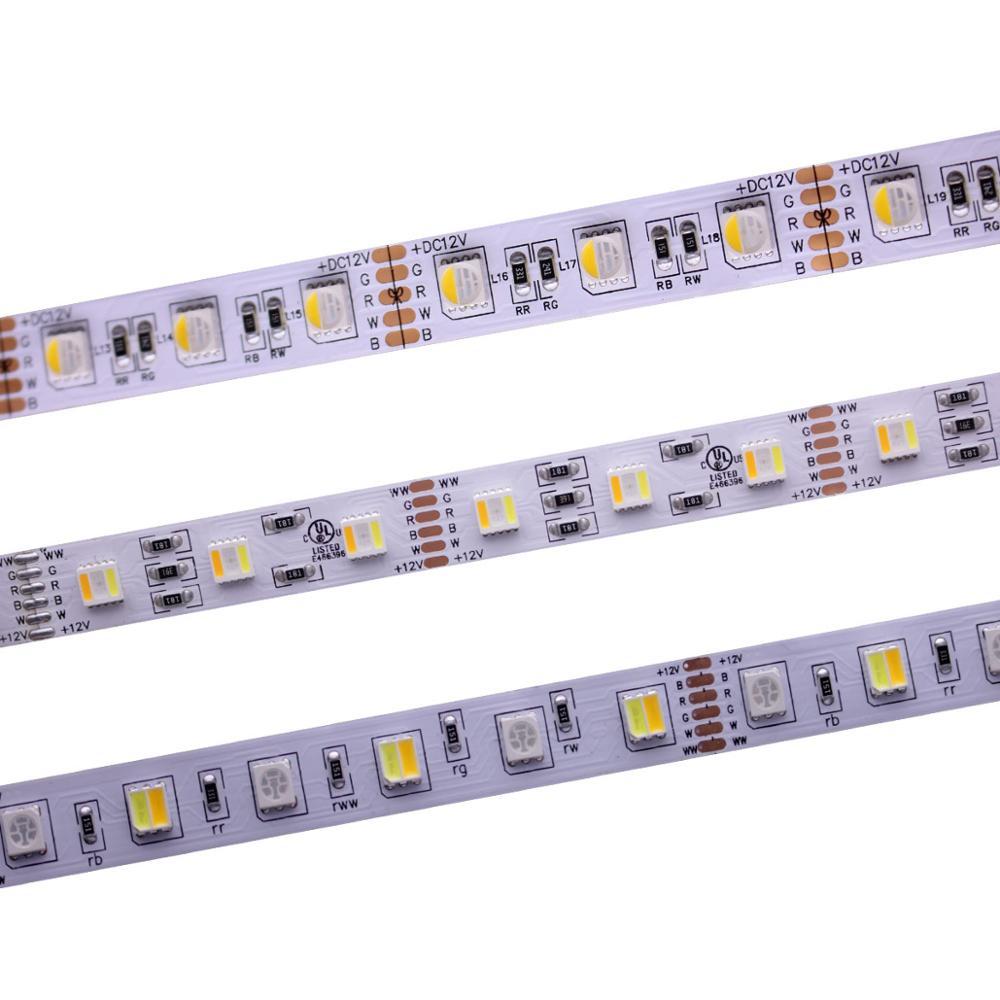 12mm PCB RGBCCT LED Strip 5050 12V / 24V 4in1 5Colors 5 In1 Chips RGB+WW+CW 60 LEDs/m 5m/lot RGBW RGBWW LED Strip Light 5m/lot.