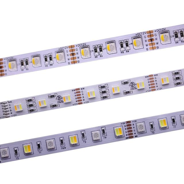 12mm PCB RGBCCT LED Şerit 5050 12 V/24 V 4in1 5 Renkler 5 in1 Cips RGB + WW + CW 60 LEDs/m 5 m/grup RGBW RGBWW LED Şerit Işık 5 m/grup.