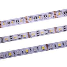 O pwb rgbcct de 12mm conduziu a tira 5050 12 v/24 v 4in1 5 cores 5 in1 lasca rgb + ww + cw 60 leds/m 5 m/lote rgbw rgbww conduziu a luz de tira 5 m/lote.