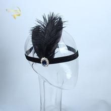 Black Feather Womens Headband Rhinestone Crystal Bridal Headwear for Wedding Occasions Girls Accessories Bride Headdress JWH001
