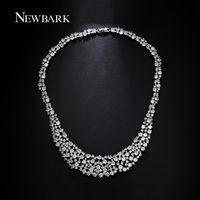 NEWBARK Choker Statement Necklace For Bride Wedding Maxi Necklaces AAA CZ Diamond Colar Collier Femme Women