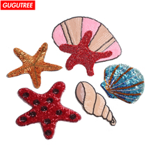 GUGUTREE embroidery paillette big shell patches starfish badge Applique Patch for Coat,T-Shirt,hat,bags,Sweater,backpack