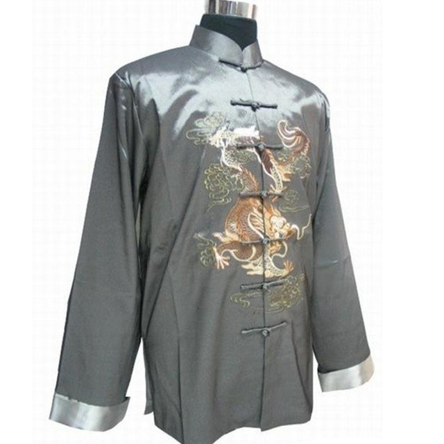 Gray New Traditional Chinese Men's Silk Satin Embroidery Jacket Coat Long sleeve Tang Suit Dragon Size S M L XL XXL XXXL 2318-4