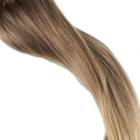 Full Shine Remy Hair Weft Hair Bundles Ombre Color #10 Fading To #14
