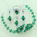 Reginababy Green created Emerald Silver color Bridal Jewelry Set For Women Wedding Bracelet/Necklace/Earrings/Ring J103017