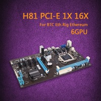 Clearance H81 6GPU High Speed New Extender Riser Card PCI E 1X Mining Motherboard Integrated Graphics Express Rig Ethereum Miner