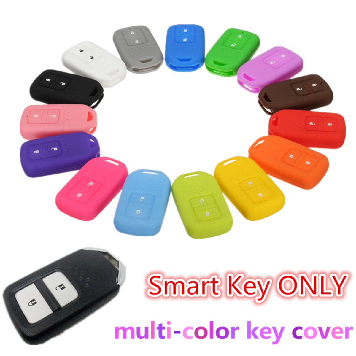 Silicone 2 Button Smart Keyless Remote Key Case Fob Cover Holder For Honda /VEZEL /HR-V /JAZZ /CIVIC /ACCORD /ODYSSEY new car remote key fob cover case holder protect for honda 2016 2017 crv pilot accord civic fit freed keyless entry car styling
