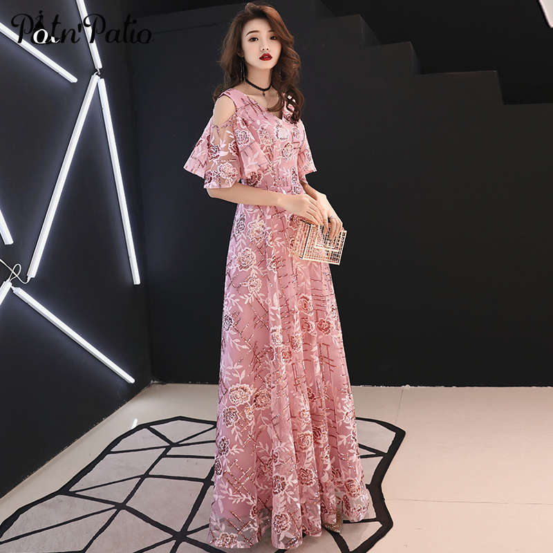 2019 New V-neck Pink   Evening     Dresses   Long Luxury Sequined Lace   Evening   Gowns For Women Elegant Formal   Dresses   With Cap Sleeves