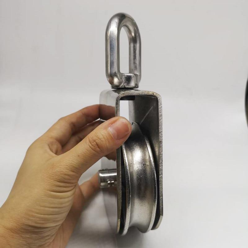 1pcs M100 High Quality Stainless Steel Heavy Duty Steel Single Wheel Swivel Lifting Rope Pulley Wheel