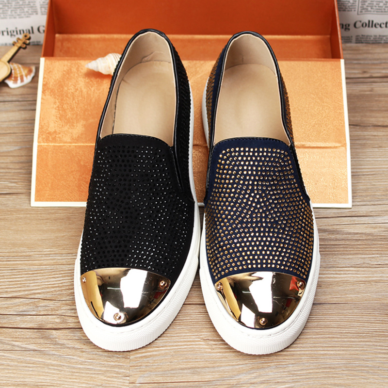 2017 New Genuine Leather Flats Boat Men Loafers Shoes Fashion Men Moccasins Shoes Homme Soft Men Rhinestone Draving Shoes