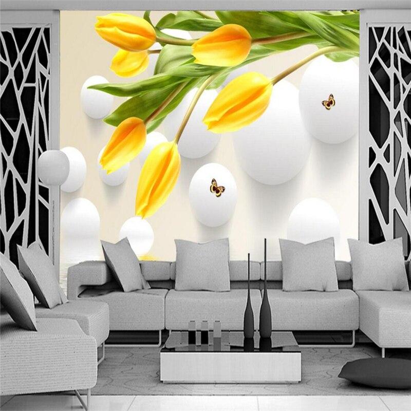 beibehang Custom Photo Wallpaper Mural Wall Sticker Tulip Reflected TV Background Wall papel de parede wallpaper for walls 3 d