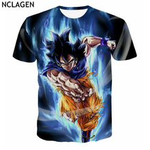 NCLAGEN Men's Short Sleeve 3D Cloth Dragon Ball Super Z Ultra Instinct Super Saiyan Blue God Goku Print T-Shirt Plus Size S-5XL