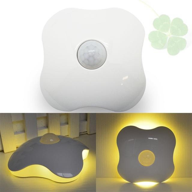 Trevo de quatro folhas pir motion sensor led night light usb bateria do corpo humano indução nightlight inteligente armário armário do banheiro lâmpadas