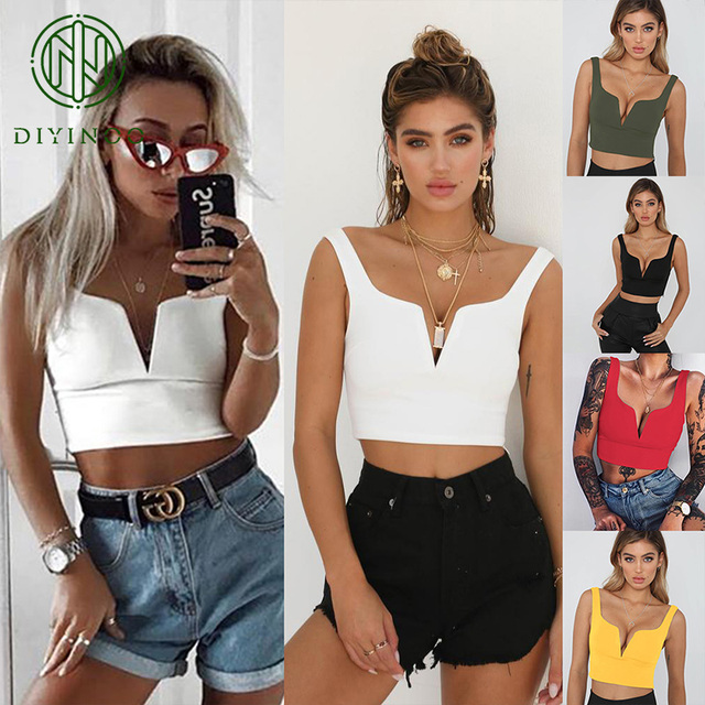 DIYINOO Spring Summer New Office Style Style Slim Sexy Ladies V-Neck Solid Short Tank Tops Backless S/M/L/XL Women's Tank Tops