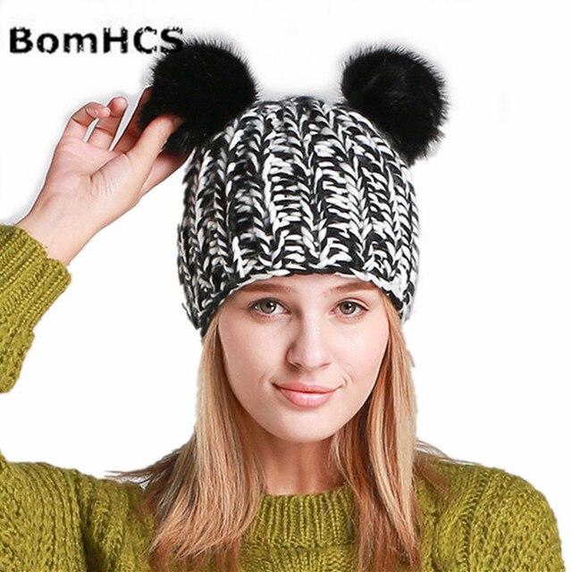 BomHCS Nova Senhora Inverno Quente Handmade Malha Gorros Cap Encantadores  Orelhas de Gato Chapéus com Pom a13fddece92