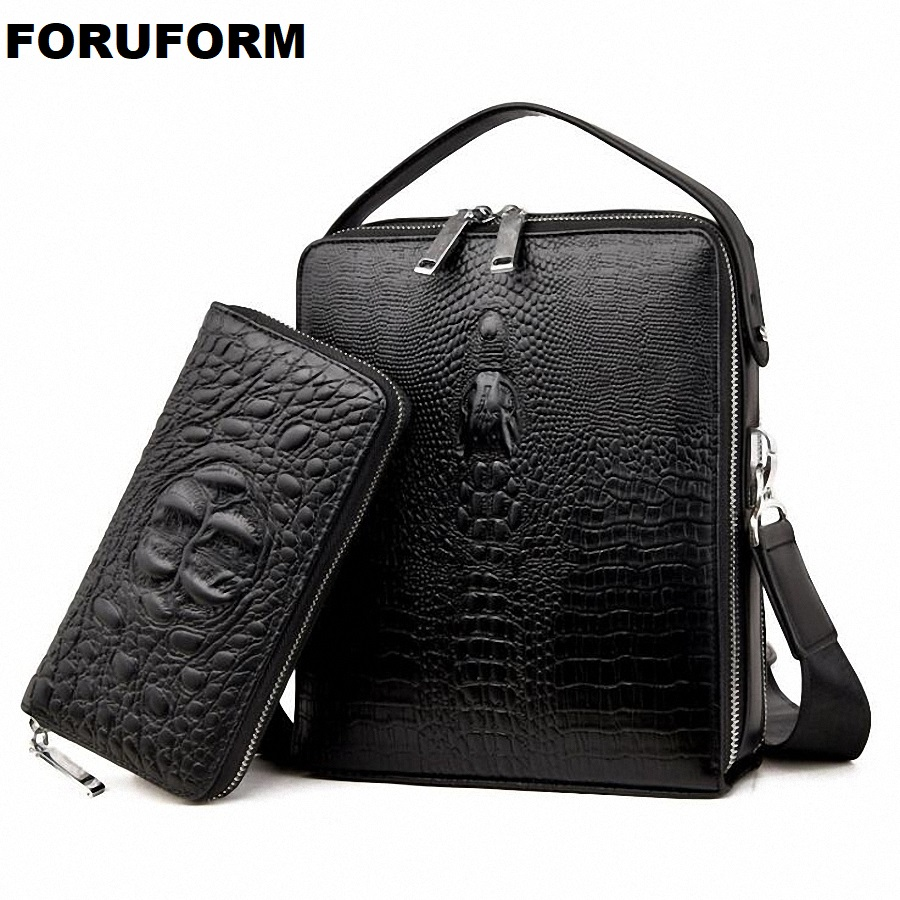 High Quality Crocodile PU Leather Mens Messenger Bags Famous Brand Casual Business Man Bag Men Shoulder Bag Crossbody Bag LI2178 men crossbody bag messenger shoulder handbags cowhide genuine leather casual business satchel mens bags for male high quality