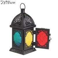 KiWarm Best Price Vintage Moroccan Sryle Glass Metal Garden Candle Holder Table Hanging Lantern For Home