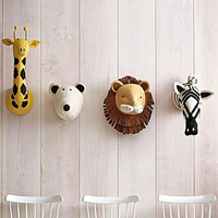 Animal Head Wall Decoration Kids Mount Giraffe Animal Head Nursery Wall Decor Felt Handmade Animal Head Children Room Decoration