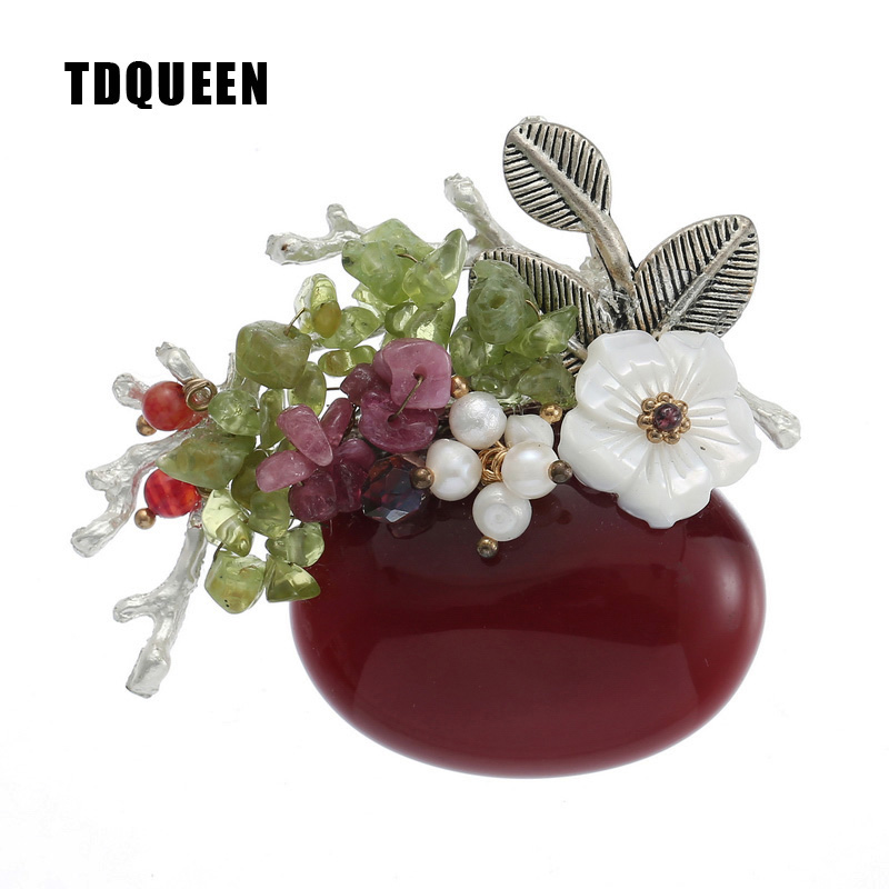 TDQUEEN Natural Stone Brooches for Women Silver Plated Metal Leaf Fresh Water Pearl and Shell Flower Large Burgundy Stone Brooch delicate rhinestone flower leaf brooch for women