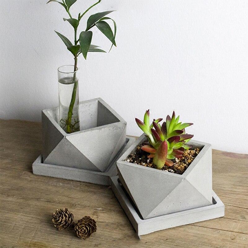 Molde de cemento de silicona de poliedro geométrico para hacer maceta de hormigón molde de fabricación de bonsái artesanal hecho a mano-in Moldes de arcilla from Hogar y Mascotas    1