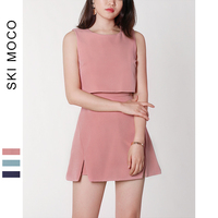 Woman Short Jumpsuit Fake 2 pieces Casual Short Rompers Outfit Office Work Playsuit Sleeveless Fitted Jumpsuit Overalls