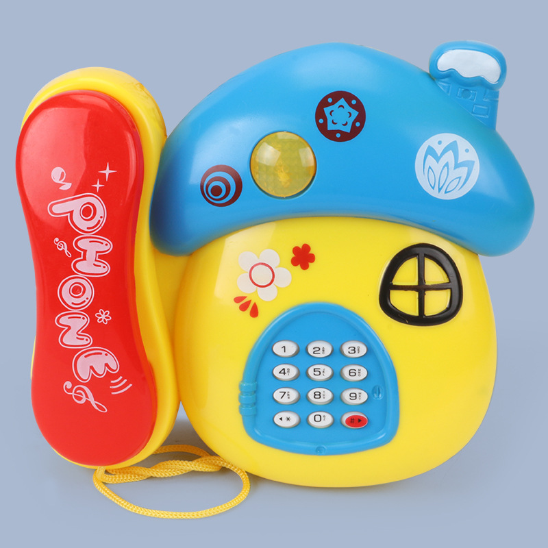 Baby Toys Sound Light Early Childhood 0-12 Months Cartoon Mushrooms Telephone Children Musical Electronic Toy Phone Random Color