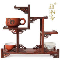 Mahogany furniture of Ming and Qing Dynasties jade stone carving wood shelf base teapot teapot antique mahogany base