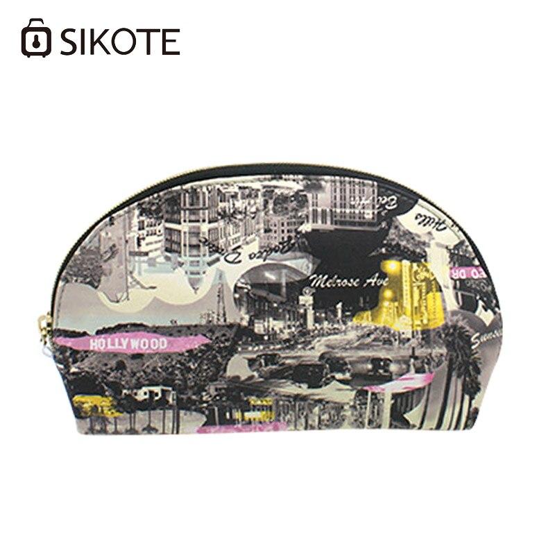 SIKOTE Portable Women s Cosmetic Bags Fashion High Quality PU Shell Storage Waterproof Washbag Female Make