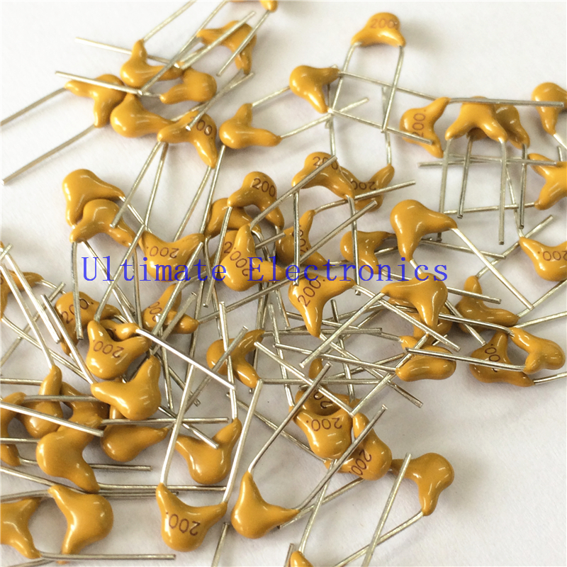 100pcs/lot  Multilayer Ceramic Capacitor 200 50V 20pF 200J P=5.08mm