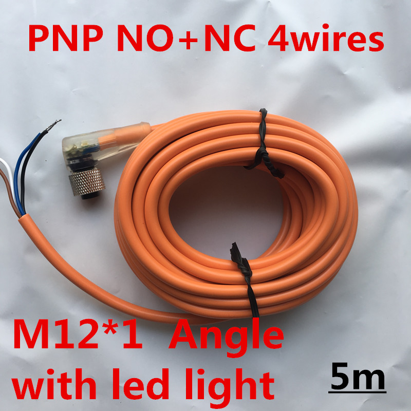 5PCS 5m cable <font><b>M12</b></font>* 1PNP NO+NC <font><b>4</b></font> wires /<font><b>pins</b></font> Female angle female plug sensor <font><b>connector</b></font> female linker couple with led light image