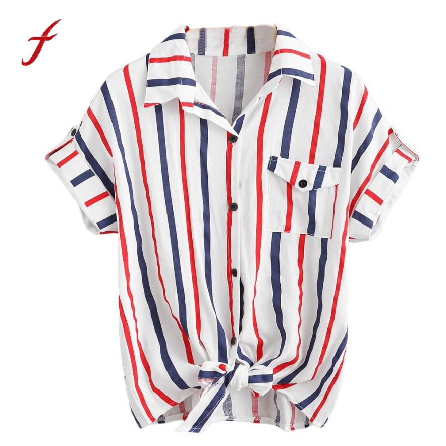 Feitong 2017 Fashion Womens Striped Crop Tops Blouse Summer Ladies Tie Blouses Short Sleeve Loose Short Shirts Blusas feminina  blouse
