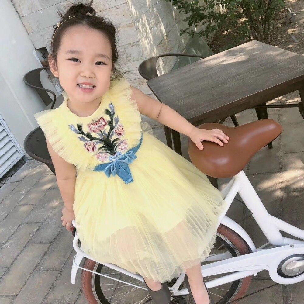 2019 été fleur broderie bébé filles vêtements jaune sans manches maille robe Boutique robe pour filles vêtements