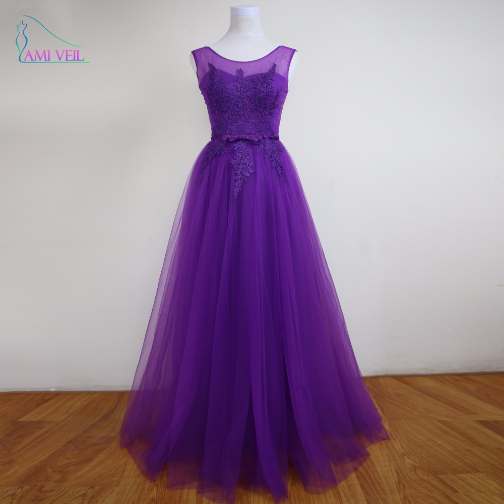 Purple Lace Prom Dress